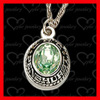 exquisite class ring pendant with green stone birthstone set
