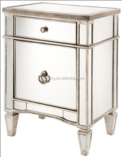 modern fancy clear and clean mirrored drawers nightstand in gold framed finish for kids