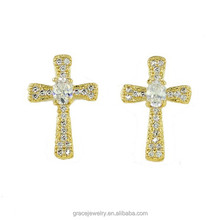 Alloy Religious Stud Cross Earrings Gold Plated Jewelry For Women
