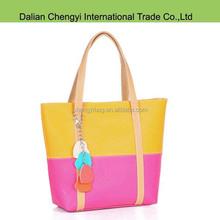 New Stylish fashion bright mix color pu leather bag