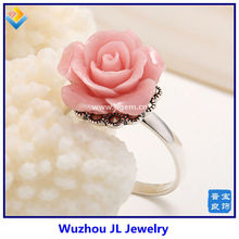 World trandy indie romantic rose shape pink color coral 925 silver cock ring pictures