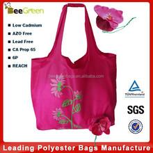 190T polyester flower design foldable fashion shopping bag