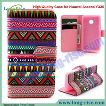 High Quality Colorful Tribal Pattern Leather Flip Cover Case for Huawei Ascend Y330 Case with Card Slot