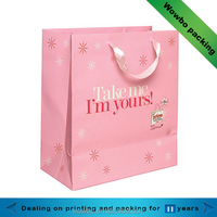 lovely pink gift packaging paper bag made in china