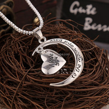 I Love You To The Moon and Back Silver Heart Pendant Necklace souvenir present