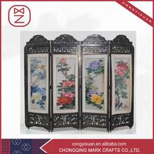 4 Panel Folding Screen Room Divider Antique Imitation Wooden Craft