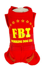 Spring and Autumn Apparel USA FBI Printed Red Dog Fleece Pet Clothes