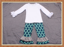 White icing shirt quatrefoil ruffles pants boutique girls ruffles clothing sets kids clothes 2015 toddler boutique remake outfit
