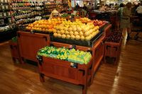 euro solid wood retail display table fruit and vegetable display stand
