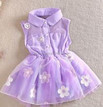 1512 2015 wholesale south Korea fashion sweet girl summer new pattern flower chiffon button sleeveless pure color wedding dress