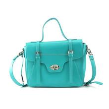 aquar blue pu vintage leather messenger bag for lady