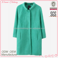 New fashion polyester and wool crochet style high quality direct manufacturer women fashion overcoat