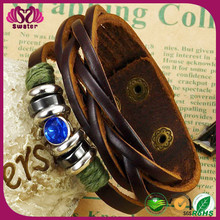 China supplies 2014 2015 wrap braided engravable wide love rhinestone snap making id diy italian leather bracelet for men