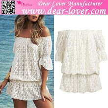 fashion woman clothes White Off-shoulder Lace Cover dropshipping women clothing