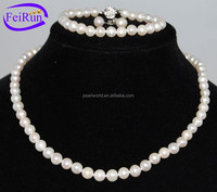 7-8mm natural near round classical cultured freshwater pearl jewelry set