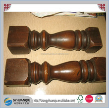 Large 12 inch Brown Painted wooden spindle table chair legs