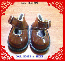 TPR sole,silver buckle,brown PU made Delta Doll Shoes