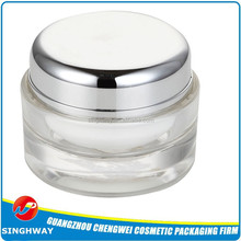 Plastic empty jars and packaging boxes for cosmetics