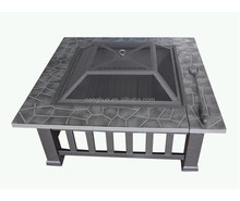 32'' Outdoor Mission Style Square Backyard Patio Stone Fire Pit