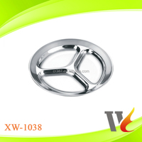 Stainless Steel School Canteen Serving Tray Dinner Plate Round Divided Dishes Fast Food Plate