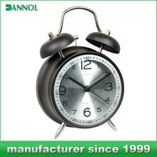 Unique metal bell alarm clock/ wake up light alarm clock home decor for bedroom