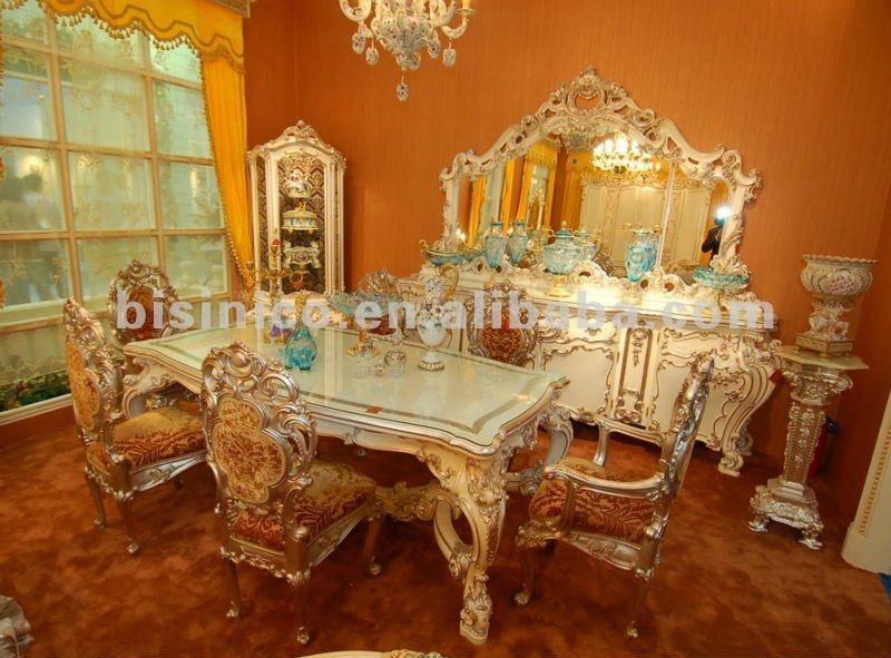 Luxury Home Dining Table Set Classical Dining Table And Chair Wooden Hand Car