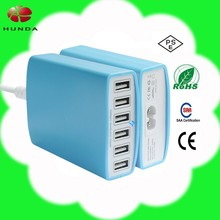 cell phone accessories travel wall adapter power home charger smart 12-amp 60 watt 6port usb hub with smart IC