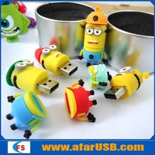 Yellow minion usb flash drive, 3D cartoon PVC minions toy model usb pendrive by china manufacturer