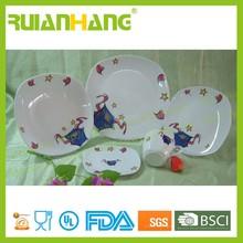 Children dinner set for 6 people, colorful ceramic dinnerware set microwave safe