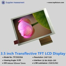 3.5 inch car tft lcd dashboard monitor and 240*320 and 6 o'clock viewing angle for outdoor use