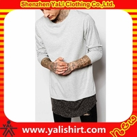 Hot selling professional custom cheap long sleeve cotton/polyester curved hem extended t shirt blank for men