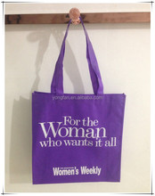 Purple eco friendly bag reusable shopping bags for women's magazine
