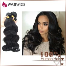 Fabwigs FH020 Factory Price Unprocessed Double Wefted Black virgin body wave weave 100% brazilian human hair