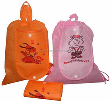 Custom printing non woven recyclable folding drawstring bag wholesale