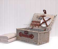 Deluxe Antique Outdoor Beach Rectangle Picnic Hamper Wicker Rattan Basket