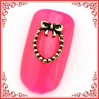 RH867 RH868 RH877 Metal Alloy Design Gold Silver Bronze Circle Bow Bowtie Style Nail Art