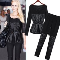 Wholesale Alibaba Online Shop 2015 Women Set Pu Leather Black Long Sleeve Blouse Top And Slim Pants SET-150427