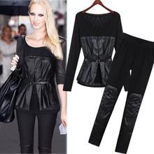 Wholesale Alibaba Online Shop 2015 Women Set Pu Leather Black Long Sleeve Blouse Top And Slim Pants SET-150427
