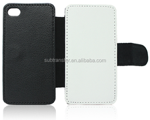 Popular best quality Sublimation leather flip wallet phone case for Iphone4/4S