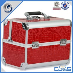 MLD-AC2865 Red alligator skin heavy duty locking aluminum artist makeup case