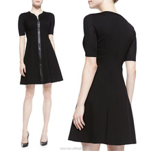 OEM service supply type China factory loose fitting formal pregnant black front zipper short sleeves wide hem dress