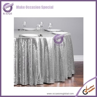 #18804 New cheap Hot sale fancy 100% polyester embroidery metallic sequence wedding silver sequin table cloth