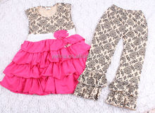 China popular girls clothing brands for Boutique cheap damask ruffle set custom clothing set cute design outfits online supplier