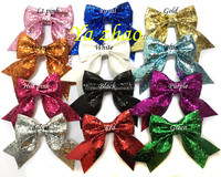 "2015 new style 3"" baby kids girls glitter hair bows with tails, hot selling, 12colors in stock"