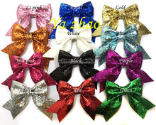 """2015 new style 3"""" baby kids girls glitter hair bows with tails, hot selling, 12colors in stock"""
