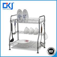 3-tier cromado comercial cocina plato de acero inoxidable tendedero / plato organizador / placa de bastidor y holder