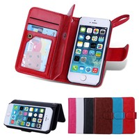 BRG Multifunctional 2 in 1 Stand Cover PU Leather Wallet Case For iPhone 5C