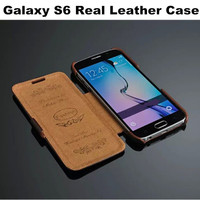 S6 Vintage Luxury Folio Lychee Pattern Genuine Leather For Samsung Galaxy S6 G9200 Real Deluxe Capa Case Cover