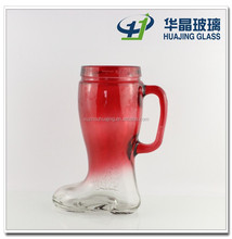 32oz boot shape glass drinking bottle glass beer cup with handle made in Xuzhou