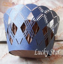 Navy Blue Diamond 2015 design laser cut cupcake wrapper, lace cupcake wraps decoration for wedding cake box birthday cake/sugar